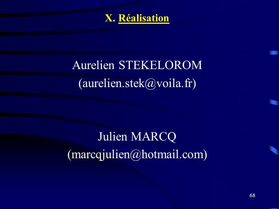 68 X. Réalisation Aurelien STEKELOROM (aurelien.stek@voila.fr) Julien MARCQ (marcqjulien@hotmail.com)