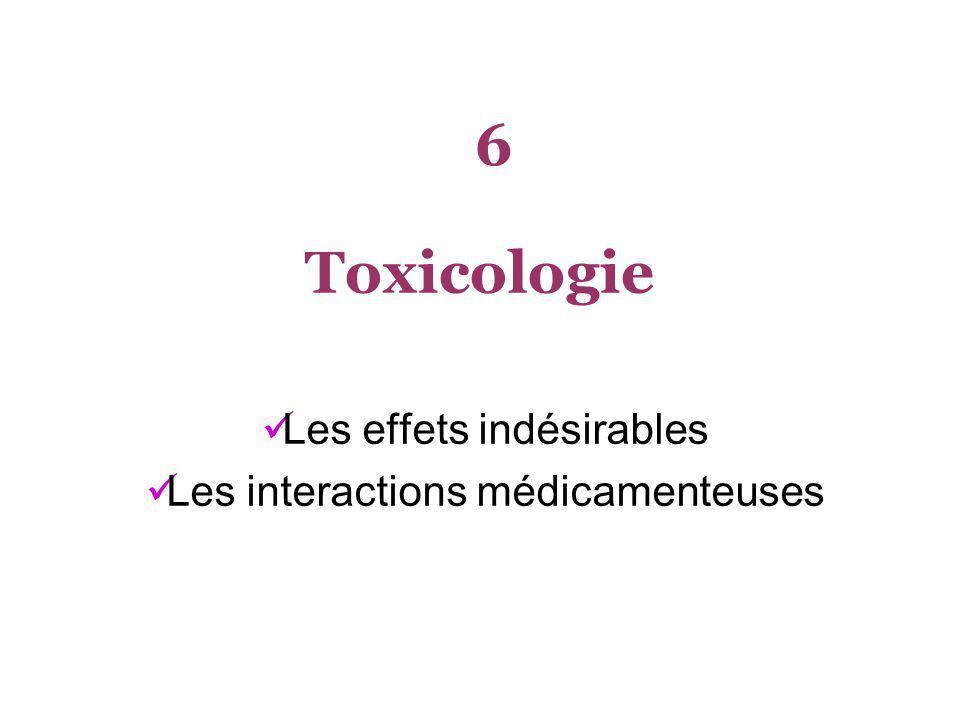 Toxicologie Les effets indésirables Les interactions médicamenteuses 6