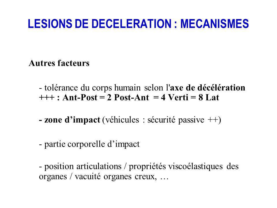 LESIONS DE DECELERATION : MECANISMES Autres facteurs - tolérance du corps humain selon l'axe de décélération +++ : Ant-Post = 2 Post-Ant = 4 Verti = 8