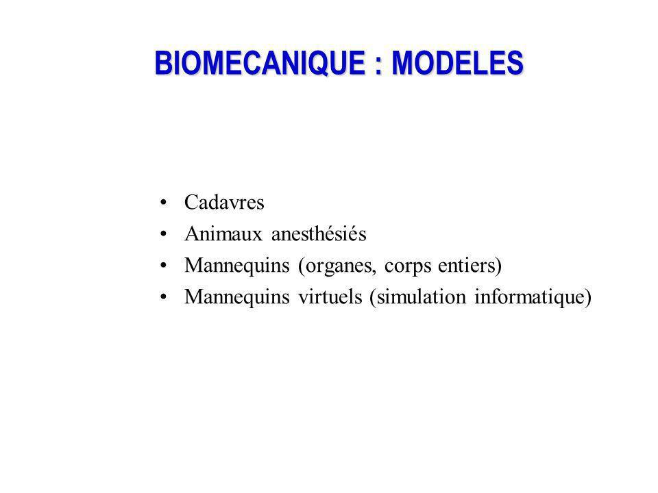 BIOMECANIQUE : MODELES Cadavres Animaux anesthésiés Mannequins (organes, corps entiers) Mannequins virtuels (simulation informatique)