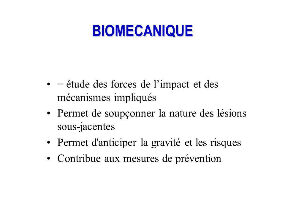 BIOMECANIQUE = étude des forces de limpact et des mécanismes impliqués Permet de soupçonner la nature des lésions sous-jacentes Permet d'anticiper la