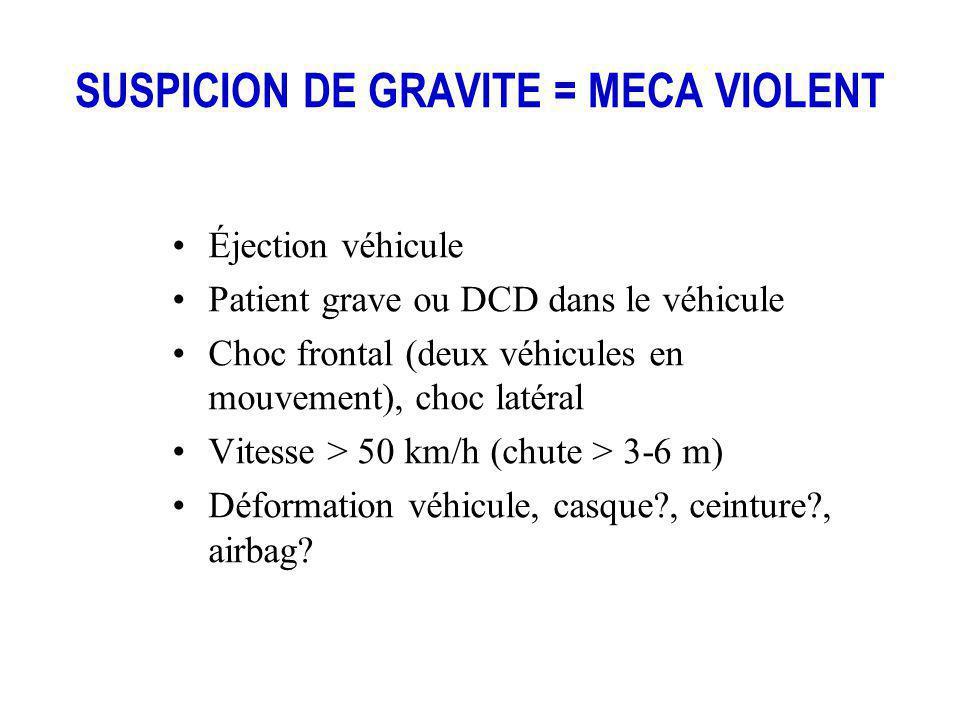 SUSPICION DE GRAVITE = MECA VIOLENT Éjection véhicule Patient grave ou DCD dans le véhicule Choc frontal (deux véhicules en mouvement), choc latéral V