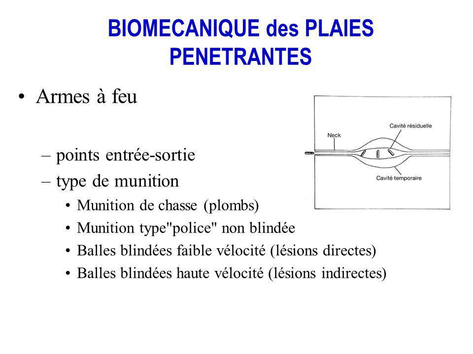 BIOMECANIQUE des PLAIES PENETRANTES Armes à feu –points entrée-sortie –type de munition Munition de chasse (plombs) Munition type