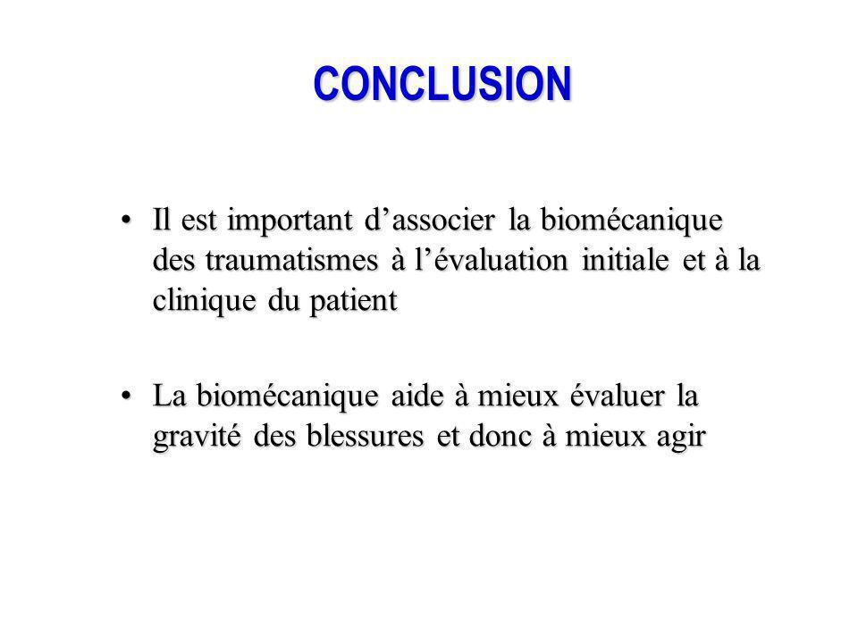 CONCLUSION Il est important dassocier la biomécanique des traumatismes à lévaluation initiale et à la clinique du patientIl est important dassocier la