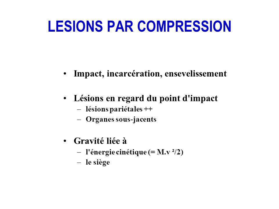 LESIONS PAR COMPRESSION Impact, incarcération, ensevelissement Lésions en regard du point d'impact –lésions pariétales ++ –Organes sous-jacents Gravit