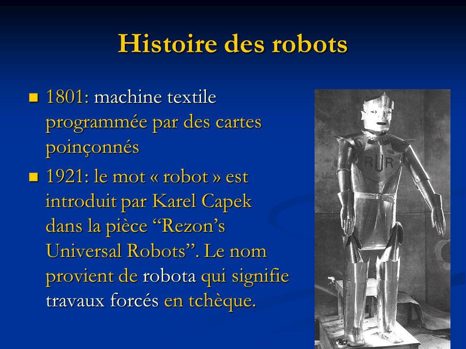Histoire des robots 1801: machine textile programmée par des cartes poinçonnés 1801: machine textile programmée par des cartes poinçonnés 1921: le mot