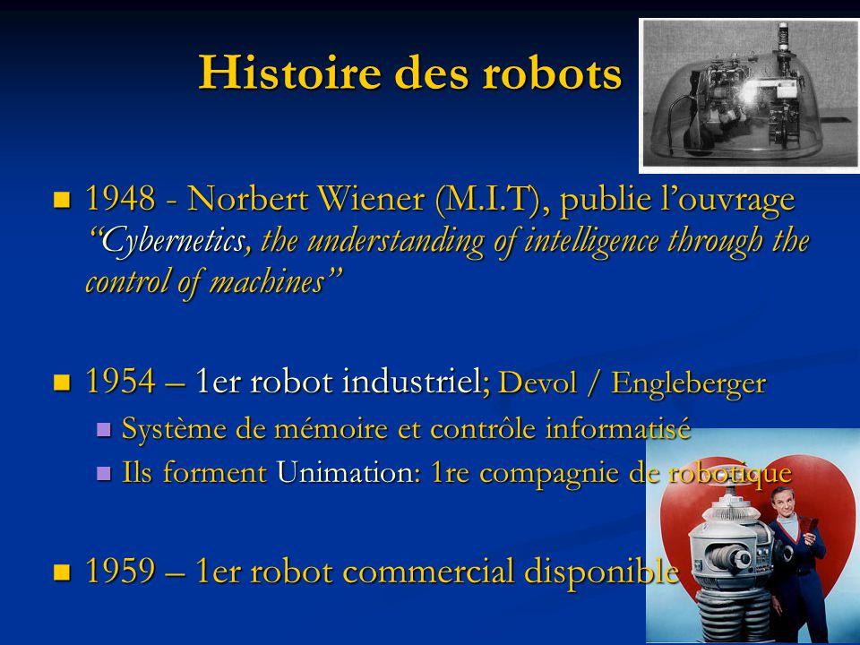 1948 - Norbert Wiener (M.I.T), publie louvrageCybernetics, the understanding of intelligence through the control of machines 1948 - Norbert Wiener (M.