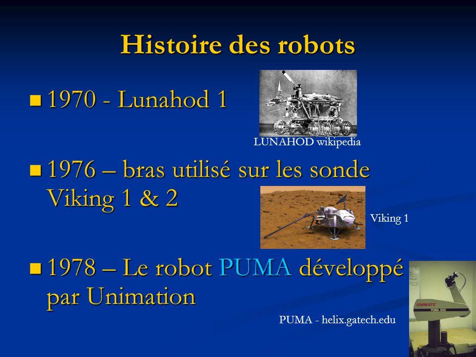 1970 - Lunahod 1 1970 - Lunahod 1 1976 – bras utilisé sur les sonde Viking 1 & 2 1976 – bras utilisé sur les sonde Viking 1 & 2 1978 – Le robot PUMA d