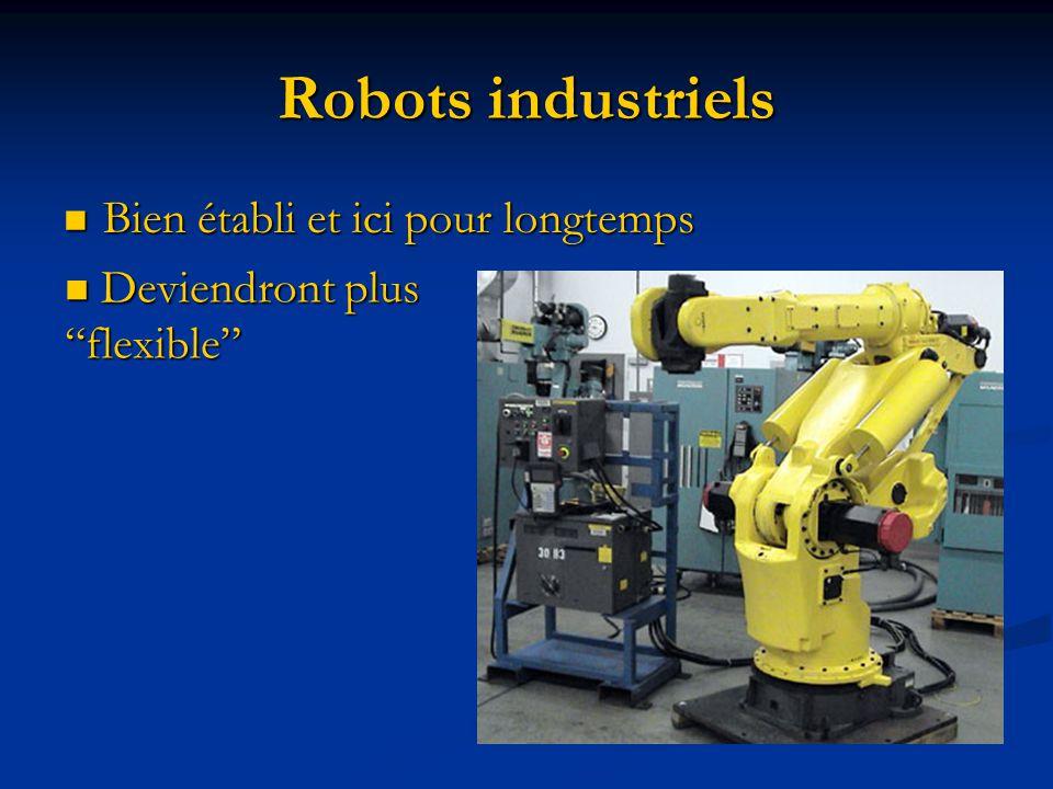 Robots industriels Bien établi et ici pour longtemps Bien établi et ici pour longtemps Deviendront plus flexible Deviendront plus flexible