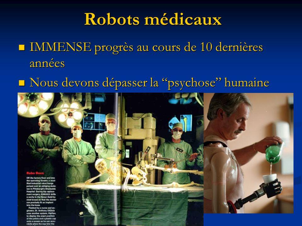 Robots médicaux IMMENSE progrès au cours de 10 dernières années IMMENSE progrès au cours de 10 dernières années Nous devons dépasser la psychose humai