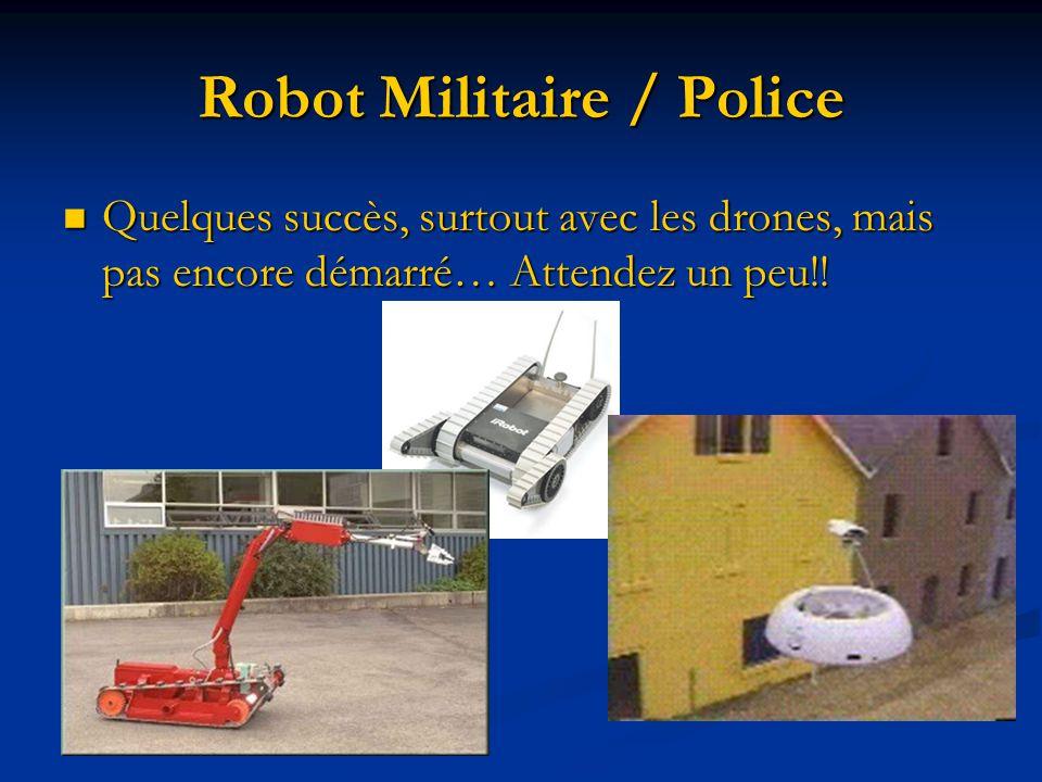Robot Militaire / Police Quelques succès, surtout avec les drones, mais pas encore démarré… Attendez un peu!! Quelques succès, surtout avec les drones