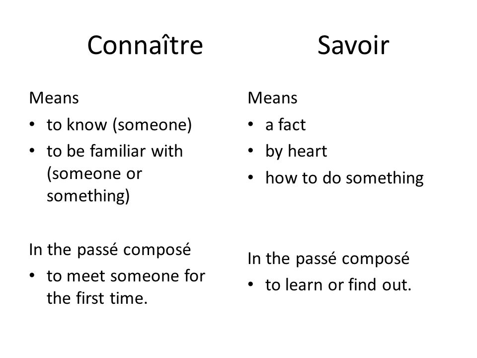 Connaître Savoir Means to know (someone) to be familiar with (someone or something) In the passé composé to meet someone for the first time.