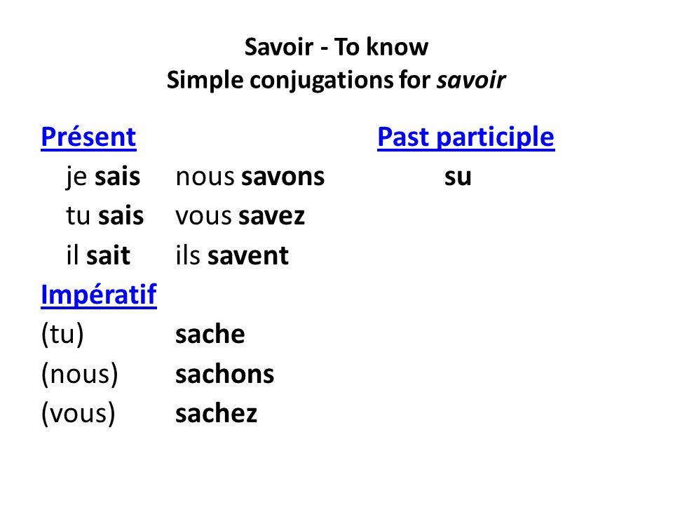 Savoir - To know Simple conjugations for savoir PrésentPast participlePrésentPast participle je saisnous savons su tu saisvous savez il saitils savent