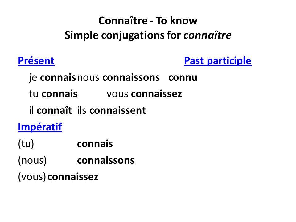 Connaître - To know Simple conjugations for connaître PrésentPrésent Past participle Past participle je connaisnous connaissons connu tu connaisvous c