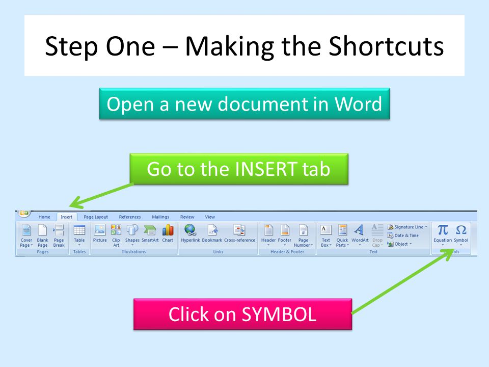 Step One – Making the Shortcuts Open a new document in Word Go to the INSERT tab Click on SYMBOL