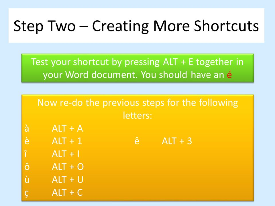 Step Two – Creating More Shortcuts Test your shortcut by pressing ALT + E together in your Word document. You should have an é Now re-do the previous