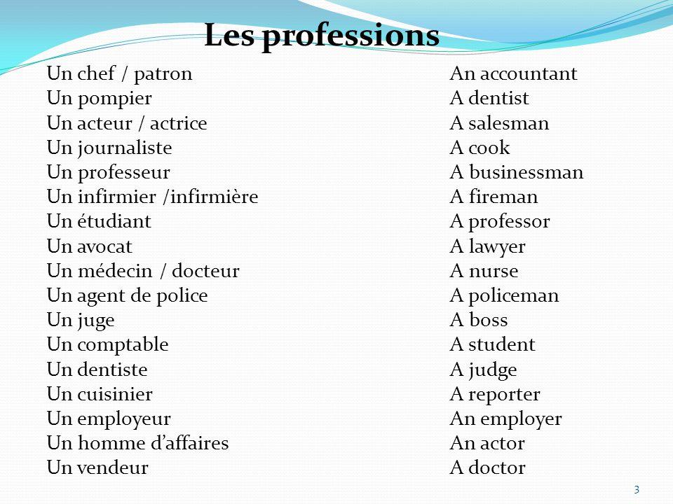 Un chef / patron An accountant Un pompierA dentist Un acteur / actriceA salesman Un journalisteA cook Un professeurA businessman Un infirmier /infirmi