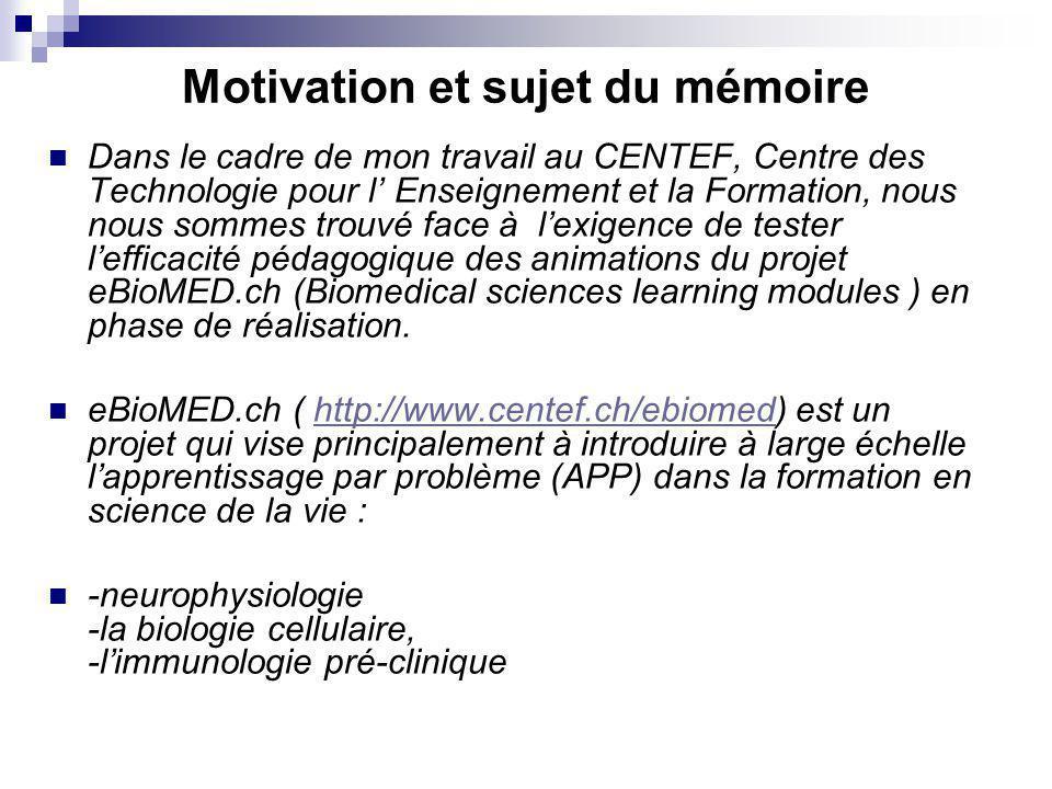 Motivation et sujet du mémoire Dans le cadre de mon travail au CENTEF, Centre des Technologie pour l Enseignement et la Formation, nous nous sommes tr