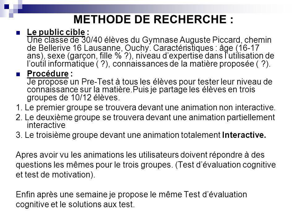 METHODE DE RECHERCHE : Le public cible : Une classe de 30/40 élèves du Gymnase Auguste Piccard, chemin de Bellerive 16 Lausanne, Ouchy. Caractéristiqu