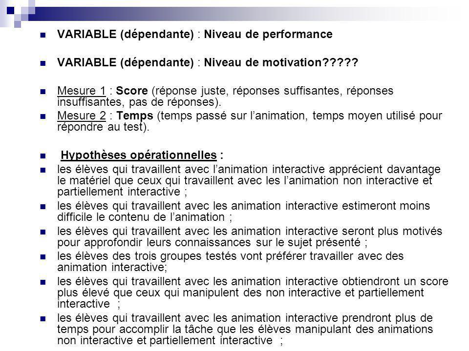 VARIABLE (dépendante) : Niveau de performance VARIABLE (dépendante) : Niveau de motivation????? Mesure 1 : Score (réponse juste, réponses suffisantes,