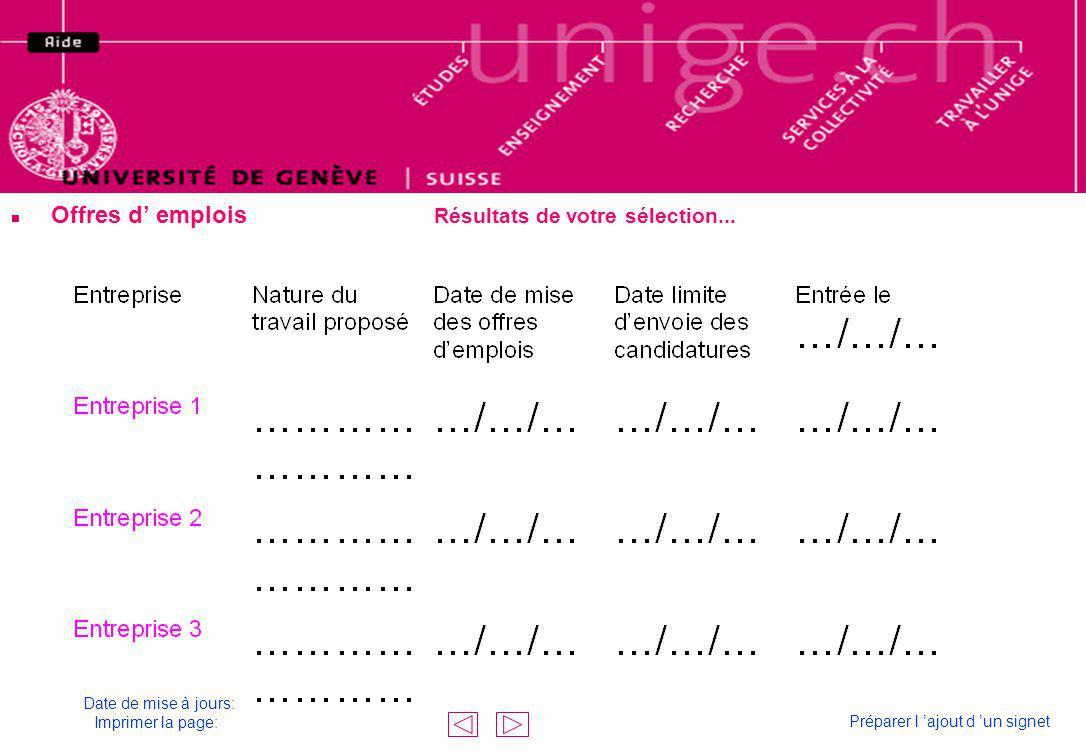 n Offres d emplois Résultats de votre sélection... Résultat de votre sélection Date de mise à jours: Imprimer la page: Préparer l ajout d un signet