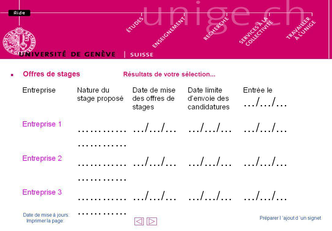 n Offres de stages Résultats de votre sélection... Résultat de votre sélection Date de mise à jours: Imprimer la page: Préparer l ajout d un signet