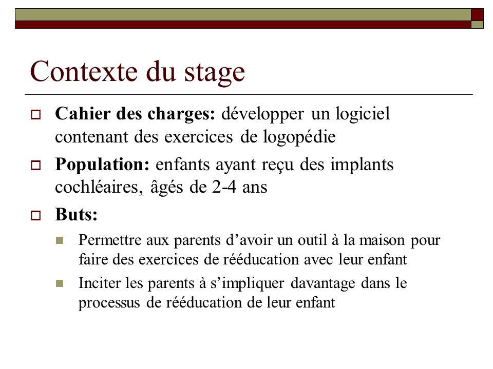 Contexte du stage Cahier des charges: développer un logiciel contenant des exercices de logopédie Population: enfants ayant reçu des implants cochléai