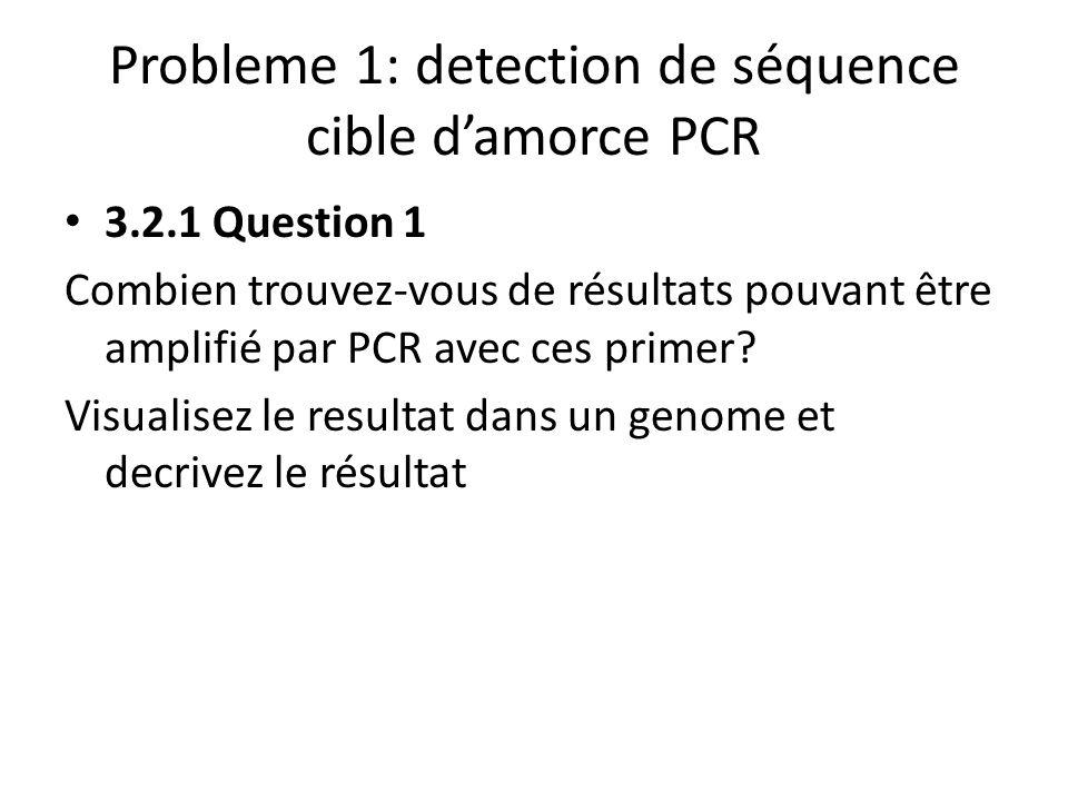 Probleme 1: detection de séquence cible damorce PCR 3.2.1 Question 1 Combien trouvez-vous de résultats pouvant être amplifié par PCR avec ces primer?