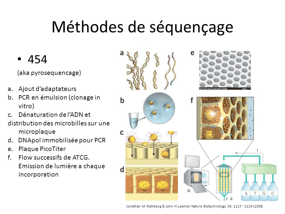 Méthodes de séquençage 454 (aka pyrosequencage) a.Ajout dadaptateurs b.PCR en émulsion (clonage in vitro) c.Dénaturation de lADN et distribution des m