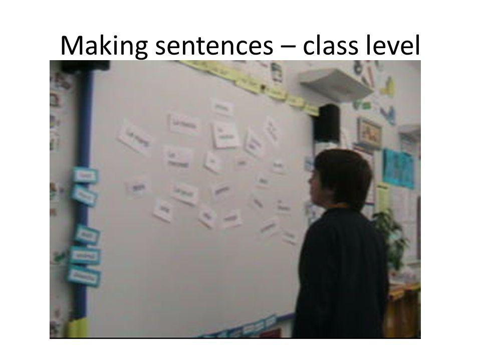 Making sentences – class level