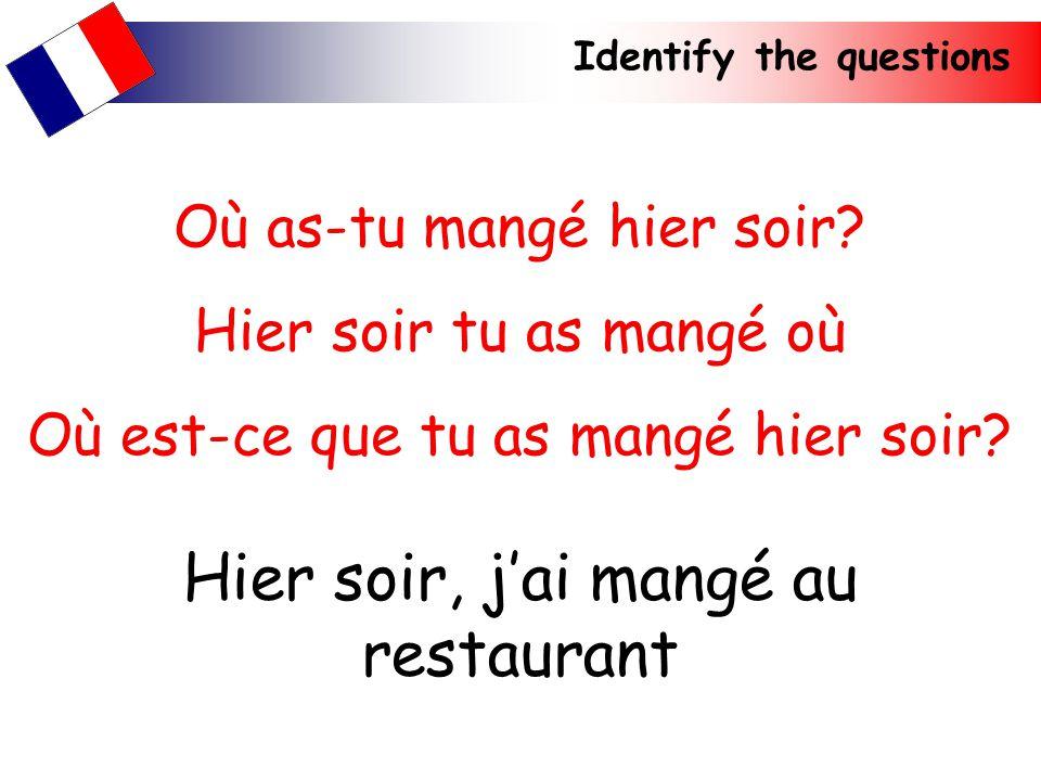 Identify the questions Hier soir, jai mangé au restaurant Où as-tu mangé hier soir? Hier soir tu as mangé où Où est-ce que tu as mangé hier soir?