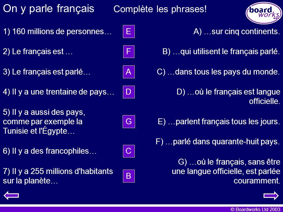 © Boardworks Ltd 2003 On y parle français 1) 160 millions de personnes… E) …parlent français tous les jours. 3) Le français est parlé… F) …parlé dans