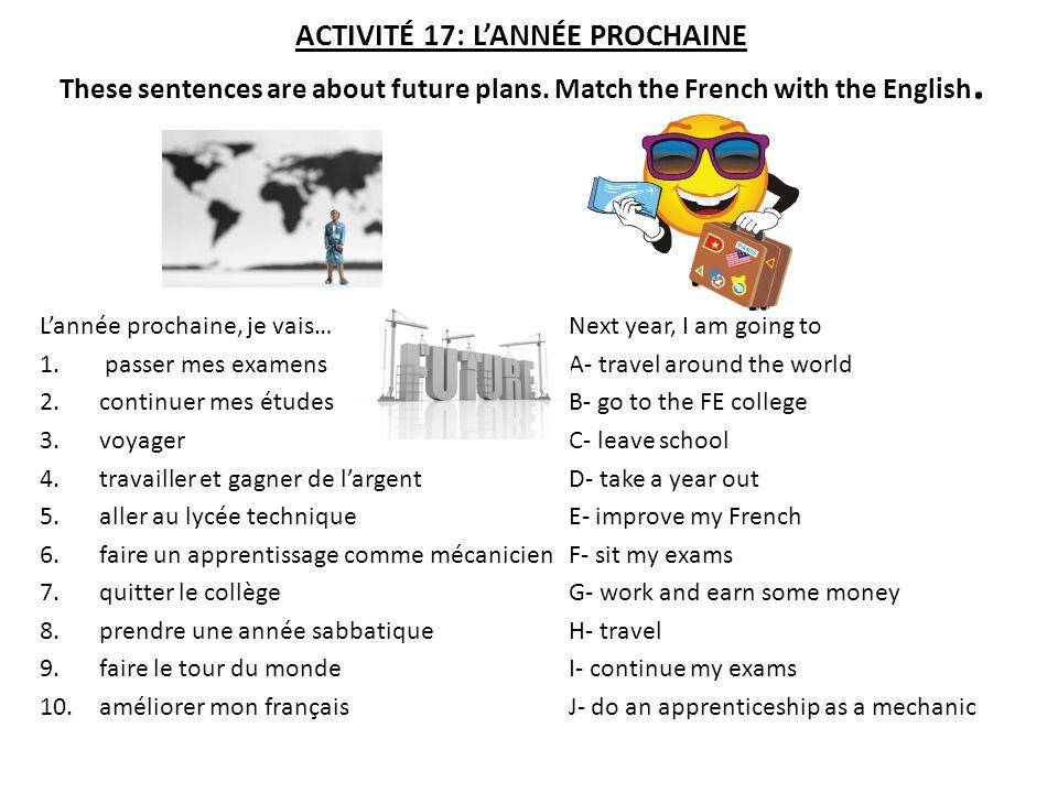 ACTIVITÉ 17: LANNÉE PROCHAINE These sentences are about future plans.