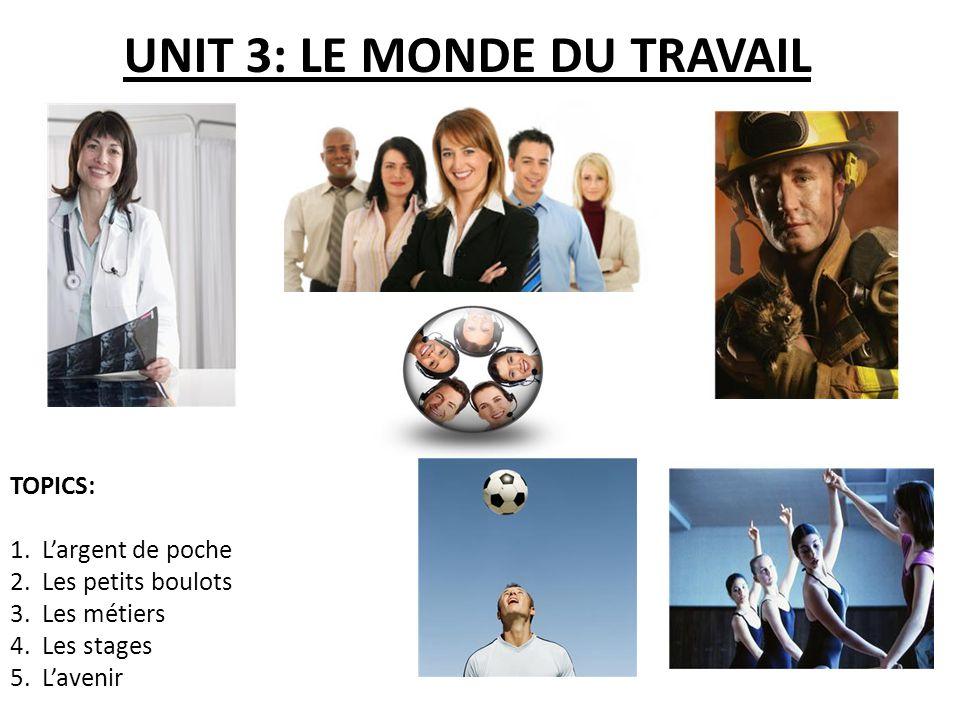 UNIT 3: LE MONDE DU TRAVAIL TOPICS: 1.Largent de poche 2.