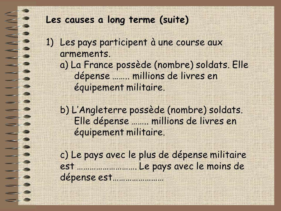 Les causes a long terme (suite) 1)Les pays participent à une course aux armements. a) La France possède (nombre) soldats. Elle dépense …….. millions d