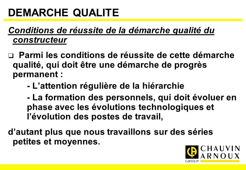 DEMARCHE QUALITE Conditions de réussite de la démarche qualité du constructeur Parmi les conditions de réussite de cette démarche qualité, qui doit êt