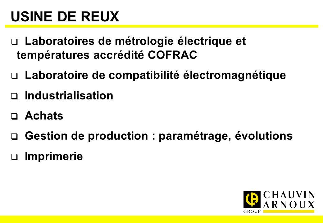 USINE DE REUX Laboratoires de métrologie électrique et températures accrédité COFRAC Laboratoire de compatibilité électromagnétique Industrialisation