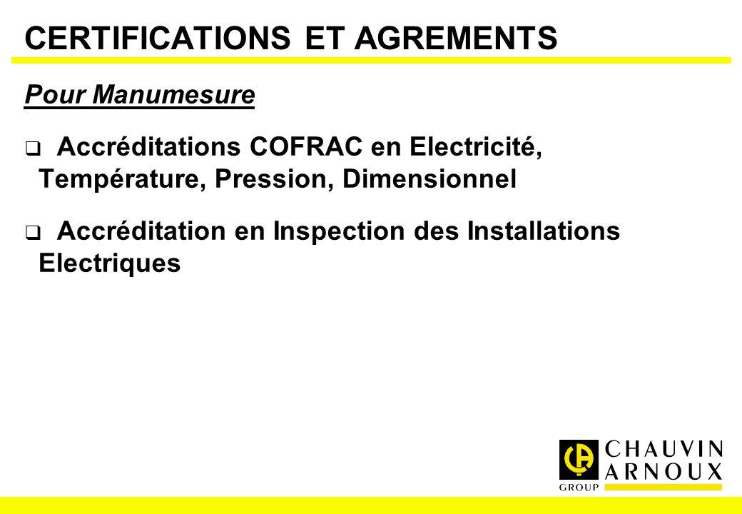 CERTIFICATIONS ET AGREMENTS Pour Manumesure Accréditations COFRAC en Electricité, Température, Pression, Dimensionnel Accréditation en Inspection des
