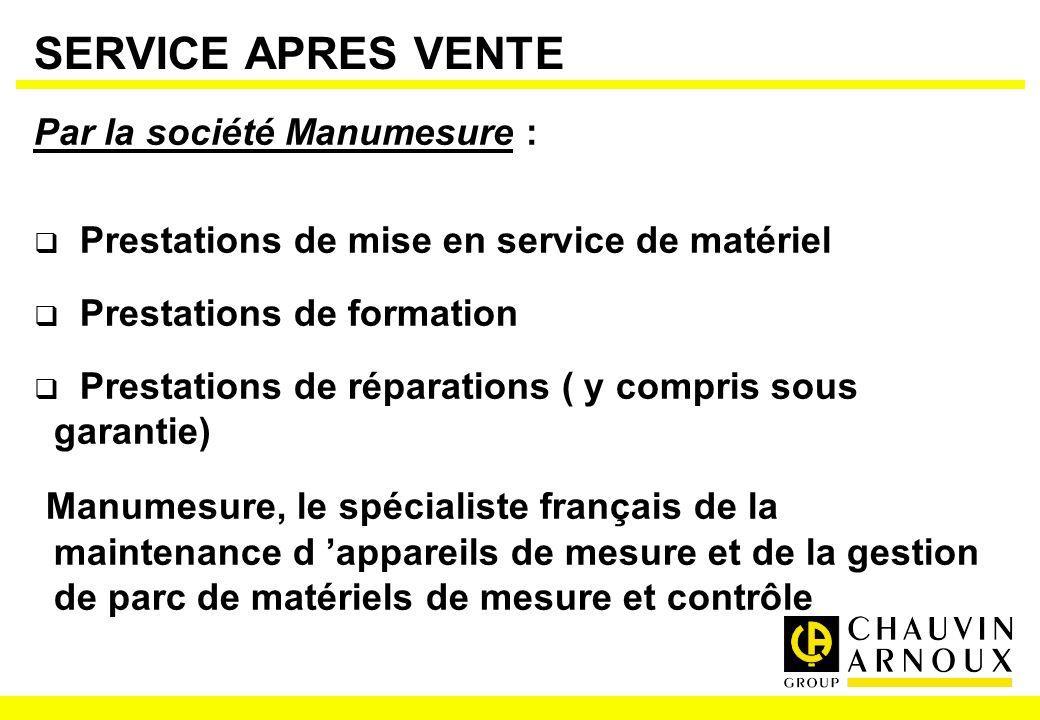 SERVICE APRES VENTE Par la société Manumesure : Prestations de mise en service de matériel Prestations de formation Prestations de réparations ( y com