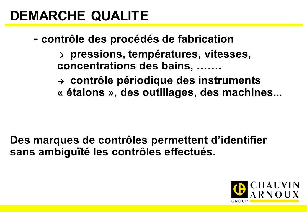 DEMARCHE QUALITE - contrôle des procédés de fabrication pressions, températures, vitesses, concentrations des bains, ……. contrôle périodique des instr