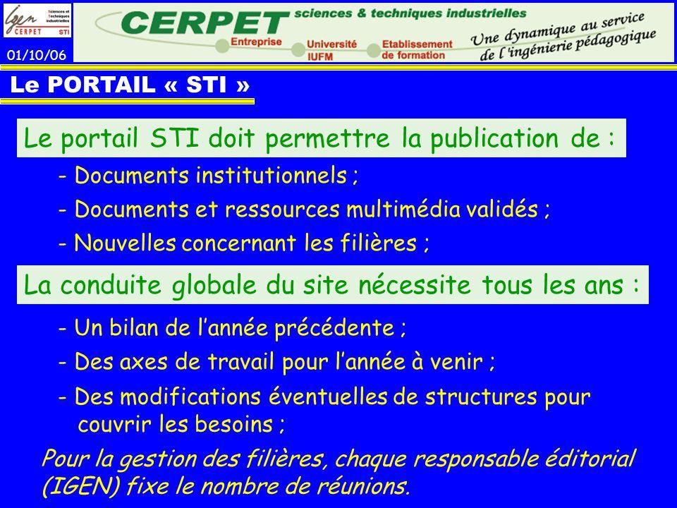 01/10/06 Le PORTAIL « STI » Le portail STI doit permettre la publication de : - Documents institutionnels ; - Documents et ressources multimédia valid