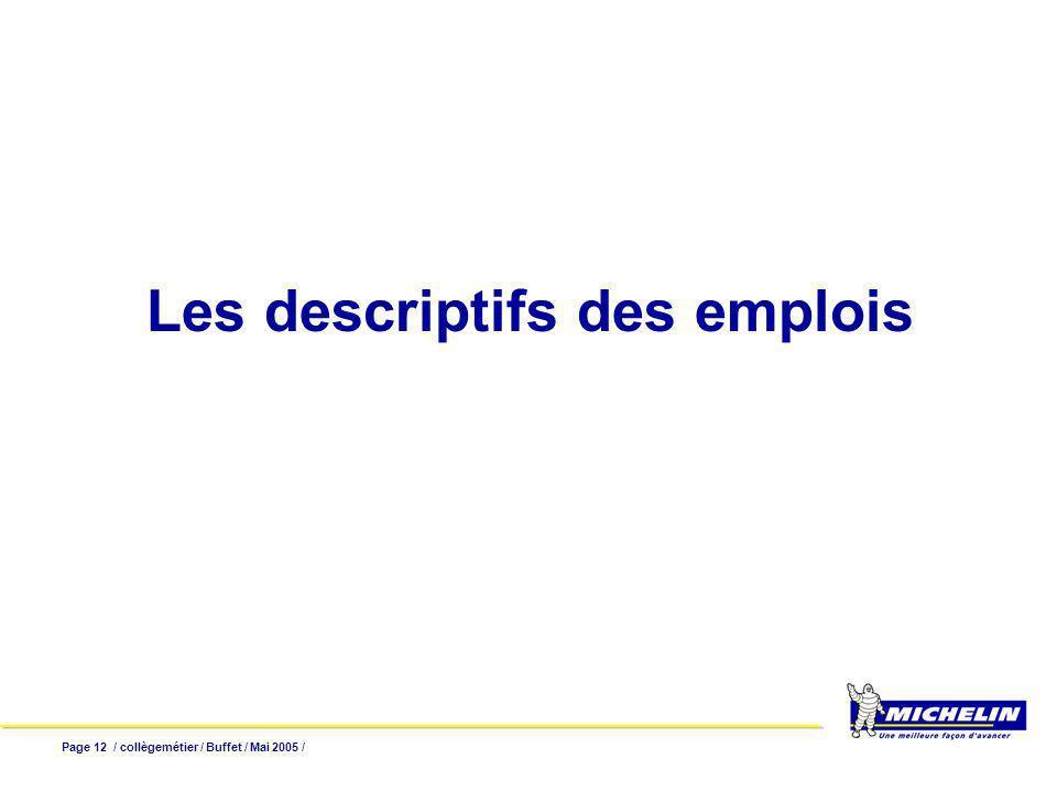 Page 12 / collègemétier / Buffet / Mai 2005 / Les descriptifs des emplois