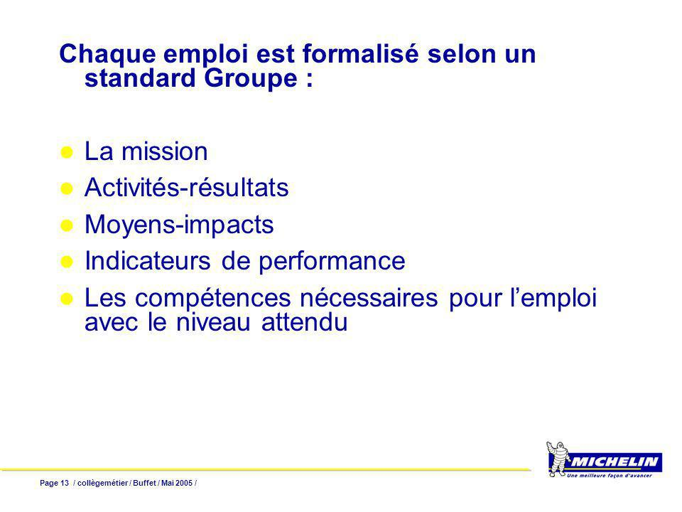 Page 13 / collègemétier / Buffet / Mai 2005 / Chaque emploi est formalisé selon un standard Groupe : La mission Activités-résultats Moyens-impacts Indicateurs de performance Les compétences nécessaires pour lemploi avec le niveau attendu