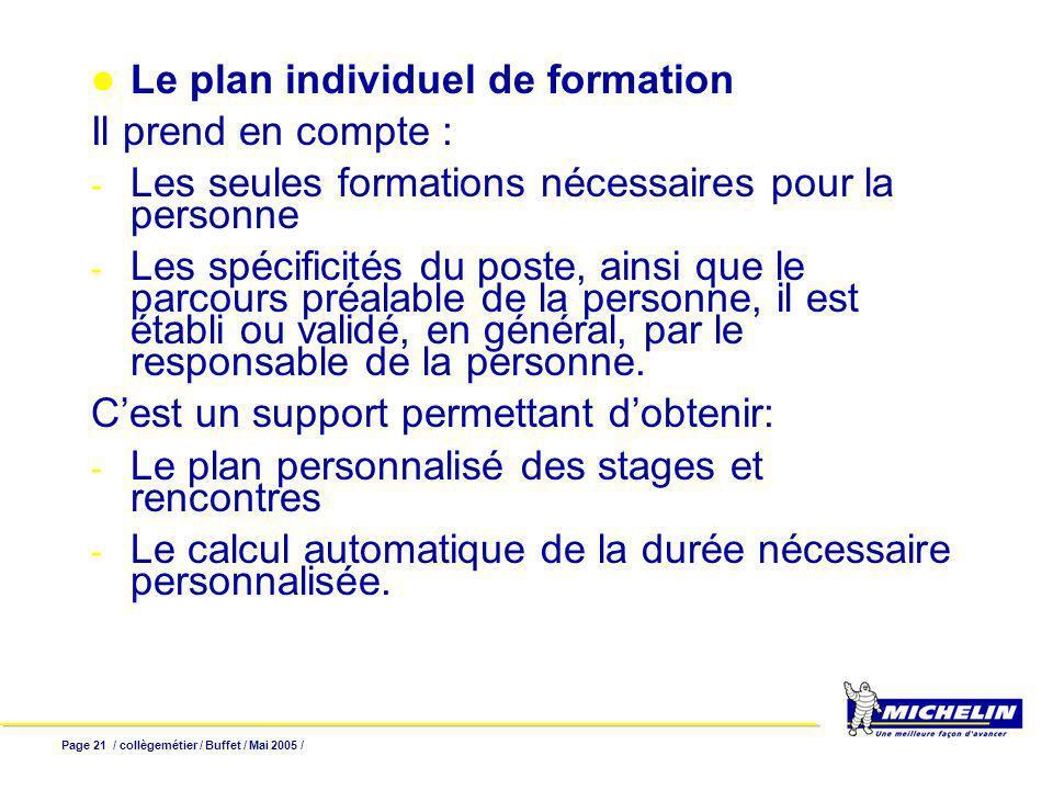 Page 21 / collègemétier / Buffet / Mai 2005 / Le plan individuel de formation Il prend en compte : - Les seules formations nécessaires pour la personne - Les spécificités du poste, ainsi que le parcours préalable de la personne, il est établi ou validé, en général, par le responsable de la personne.