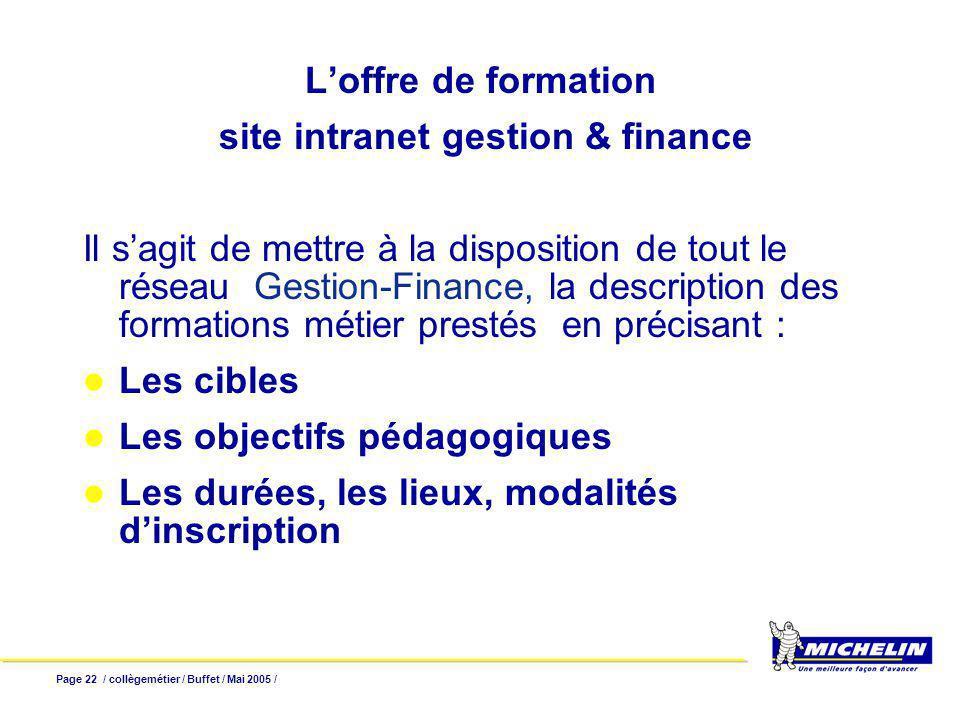 Page 22 / collègemétier / Buffet / Mai 2005 / Loffre de formation site intranet gestion & finance Il sagit de mettre à la disposition de tout le résea
