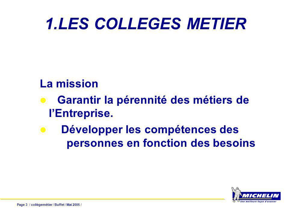 Page 3 / collègemétier / Buffet / Mai 2005 / 1.LES COLLEGES METIER La mission Garantir la pérennité des métiers de lEntreprise. Développer les compéte