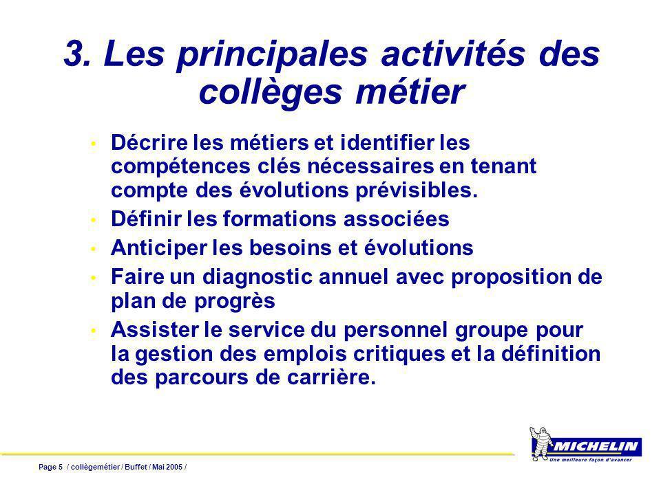 Page 5 / collègemétier / Buffet / Mai 2005 / 3. Les principales activités des collèges métier Décrire les métiers et identifier les compétences clés n