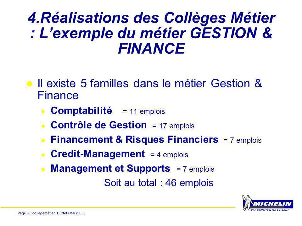 Page 6 / collègemétier / Buffet / Mai 2005 / 4.Réalisations des Collèges Métier : Lexemple du métier GESTION & FINANCE Il existe 5 familles dans le mé