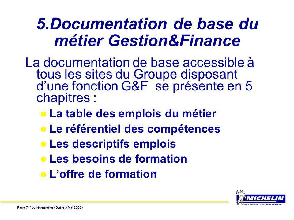 Page 7 / collègemétier / Buffet / Mai 2005 / 5.Documentation de base du métier Gestion&Finance La documentation de base accessible à tous les sites du