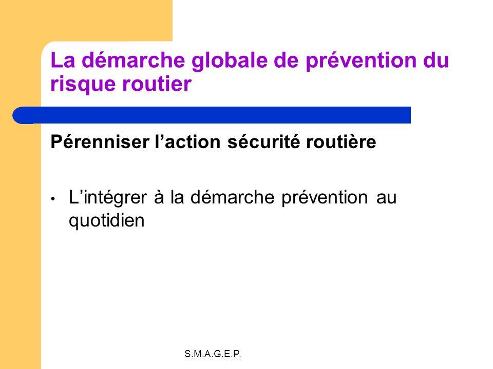 S.M.A.G.E.P. La démarche globale de prévention du risque routier Pérenniser laction sécurité routière Lintégrer à la démarche prévention au quotidien
